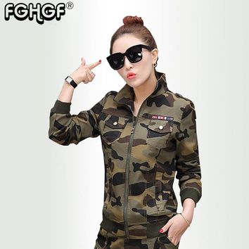 Camouflage Women's Bomber Jacket autumn Army Green Pocket Military Camo Basic Jackets Female Jackets plus size Vintage Coat 3828