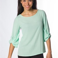 Roll Up 3/4 Sleeve Top - Mint at Lucky 21 Lucky 21
