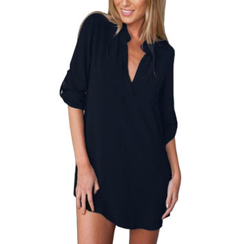 Sexy Women V Neck Chiffon Party Dress Casual Long Sleeve Loose Mini Short Shirt Dresses Vestidos Plus Size S-3XL SM6