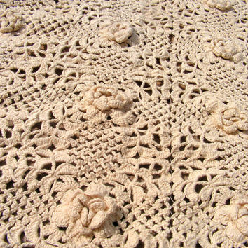 Crochet Tablecloth Rose Runner Ivory Cream Table Runner Shabby Chic Linen