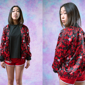vtg adidas 90's floral jacket, roses flowers sports athletic olympics, red black white windbreaker, 1990s ironic tumblr vaporwave aesthetic