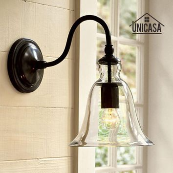 Swing Arm Wall Mounted Modern Indoor Lights Bathroom Kitchen Antique Sconce Hotel Industrial Lighting Black Lamp Clear Glass