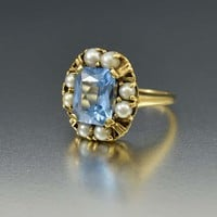 Vintage Blue Topaz and Pearl Halo Ring