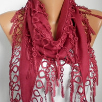 ON SALE - Burgundy Scarf - Wine Scarf Pashmina Scarf Cowl Scarf with Lace Edge - bridesmaid gift - fatwoman