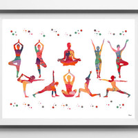 Yoga poses watercolor Print Yoga poses poster meditation art yoga basic postures painting yoga art wall decor spiritual art illustration
