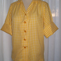 13-0743 Vintage 1960s Yellow and White Gingham Blouse / Rockabilly Shirt / Yellow Gingham Check Blouse