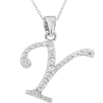 Ladies 925 Sterling Silver 'Letters of the Alphabet' Pendant with Cz Stones and an 18 Inch Link Necklace (Y)