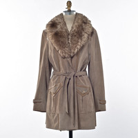 70's Wrap Coat Tan Suede with Shearling Lamb Collar Size Medium