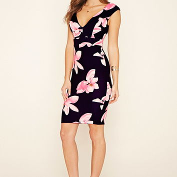 Floral Deep V-Neck Sheath Dress