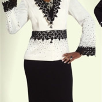 Donna Vinci Knits 2977 Geometric Lace and Rhinestone Acennts 2pc Suit