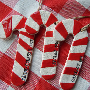 Personalized Christmas Ornament, Candy Cane Ceramic Ornament