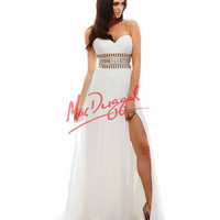 Strapless Ivory & Gold Grecian Gown