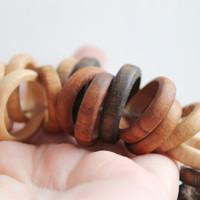 "Unfinished Wooden rings - 24 mm (0,94"")  - natural eco friendly - 10 pcs - made from walnut-tree - teether rings"