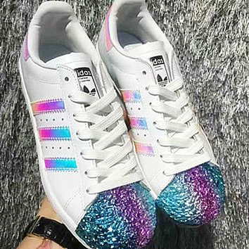 Adidas Shamrock SUPERSTAR metal shell head shining shoes shining toe cap White laser