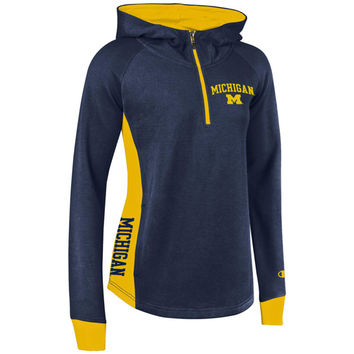 Champion University of Michigan Women's Navy/Yellow Heritage 1/4 Zip Hooded Sweatshirt