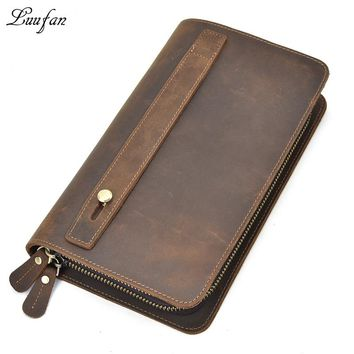 Men's Big crazy horse leather clutch bag Double layer Genuine leather wallet zip around long wallet Large card long purse