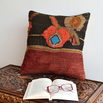 Turkish Kilim Pillow Covers - Organic Kilim Pillows - Bohemian Chic Home Decor - 16x16 Pillow Cover - Hand Embroidered Pillowcases
