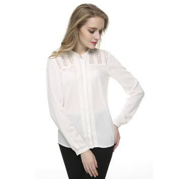 Women elegant lace floral white blouses brief stand collar office shrit long sleeve casual blusa feminina work wear ST2440