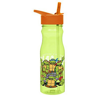 Zak! Designs Tritan Water Bottle with Flip-Up Spout and Straw featuring the Teenage Mutant Ninja Turtles, Break-resistant and BPA-free Plastic, 25 oz.