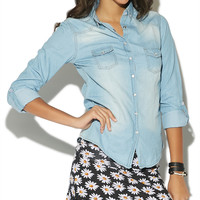 Basic Denim Shirt - WetSeal