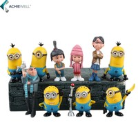 Anime Despicable Me 2 Minions Action Figure Hollywood Mini Figures Baby Toys PVC Models Fan Collection Desk Doll 10Pieces/set