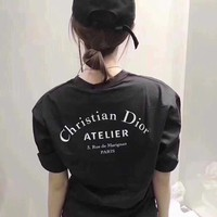 """Dior"" Women Casual Simple Letter Print Round Neck Short Sleeve T-shirt Top Tee"