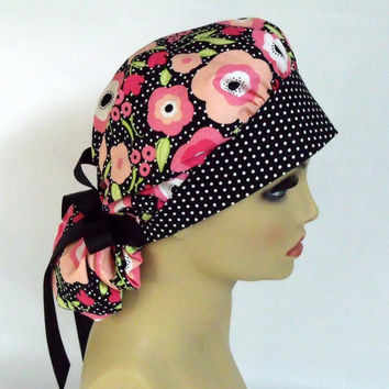 Women's Bouffant Scrub Hat or Cap Poppies and Polka