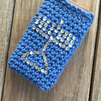 Chanukkah phone case with rhinestone menorah, All sizes, Hanukkah phone cover, Crocheted Chanukah phone cover, Jewish holiday phone case