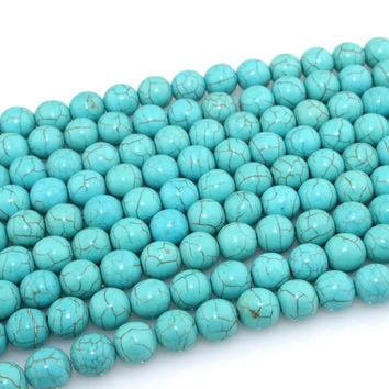 Free Delivery New 4MM-12MM Straight Holes Turquoise Natural Stone Beads For Jewelry Accessories Beads & Jewelry Making