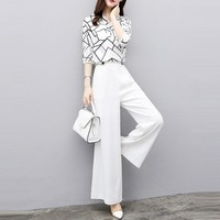 2019 New Women Summer Suits Blouse Shirt Two Piece Pant Set Loose Elegant Chiffon Tops White Wide Leg Pants 2 Piece Set Women