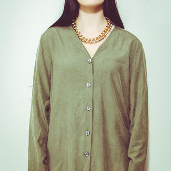 90s Khaki Green Silk Button Up Blouse