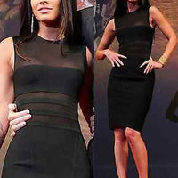 Celebrity Sexy bodycon bandage dress cocktail evening black sleeveless XS-L