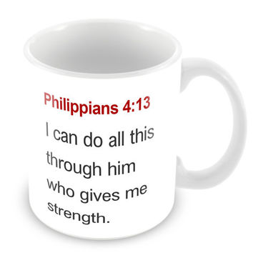 Philippians 4:13 Mug Bible Mug Bible Quote Mug Coffee Mug Church Gift Catholic Christian Gift Bible Verse Religion PM13