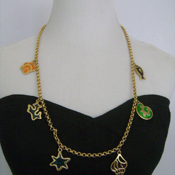 Vintage NINA RICCI Nautical Enameled Sea Shells Seashell Star Fish Charms Colorful Enamel Gold Plating Rolo Link Chain Necklace Toggle Clasp