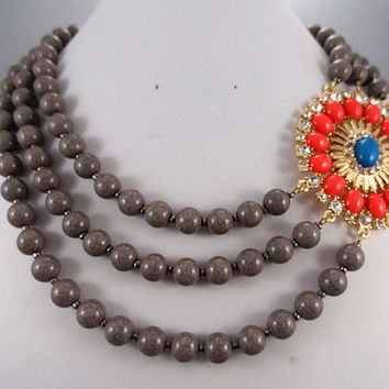J. Crew Style Inspired Flower Bubble  Necklace ,Statement Necklace,bridesmaid gifts, bib necklace/ gray and red