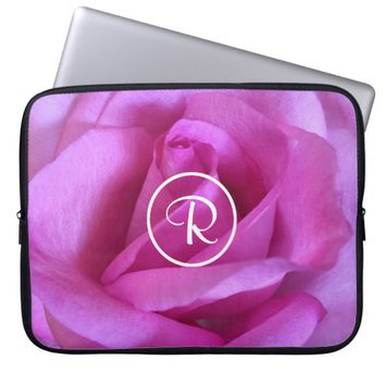 Purple rose photo custom monogram laptop sleeve