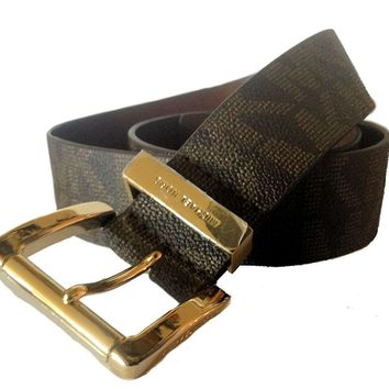 Michael Kors Women's 553143 MK Monogram Belt, Chocolate w Gold Buckle