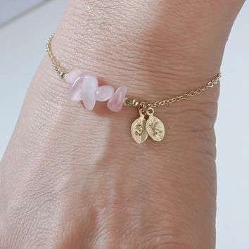 Rose Quartz Bracelet. Initials Disc Rose Gold Bracelet. October Birthstone. Rose Quartz  Bead Bracelet. Mom,Sister,Wife,Bridesmaid Gift.