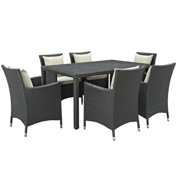 Sojourn 7 Piece Outdoor Patio Sunbrella Dining Set EEI-2312