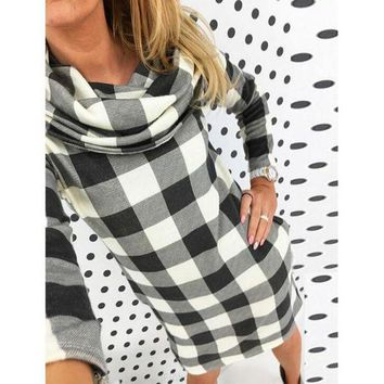 LMFUX5 High collar checkered Printed bodycon dress