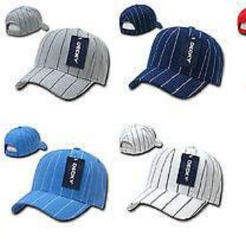 2e1a85b4eb7d New Pinstripe Adjustable Baseball Caps Ballcap Polo Hats Ballcap Decky 208