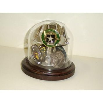 Glass Dome Coin Display Hand Made By Veterans