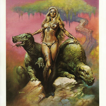 Fantasy Science Fiction Wall Decor by Boris Vallejo, Primeval Princess, Man Cave Wall Art, Vintage Erotic Fantasy Art Book Page