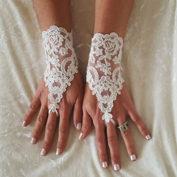 crystalline shining ivory lace gloves bridal