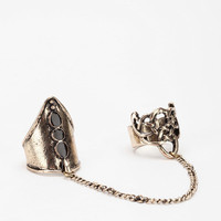 Twisted Knight Double-Finger Chain Ring