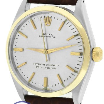 Vintage Rolex Oyster Perpetual Silver 34mm 14K Two Tone Gold Steel 1002 Watch