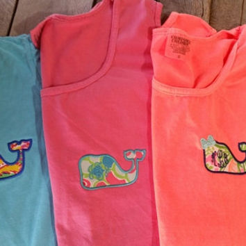 Monogrammed Comfort Color Tank Top w/Lilly inspired whale fabric applique