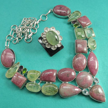 Rhodonite and prehnite necklace Set With ring, Sterling silver overlay necklace, Gemstone necklace Silver ring