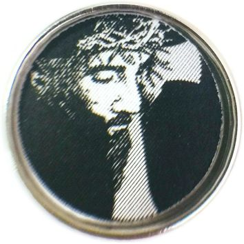 Jesus Christ Lord & Savior With Cross And Crown Of Thorns 18MM - 20MM Snap Charm New Item