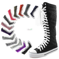 Womens Canvas Sneaker Punk Flat Tall Mid Calf Lace Up Knee High Boot Skater Shoe